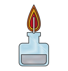 Drawing bunsen burner experiment scientific glass vector