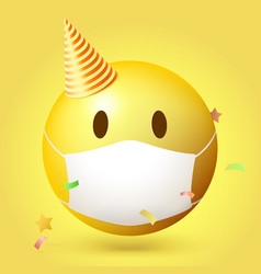 emoji emoticon with medical mask on face emoji vector image