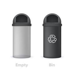 Empty transparency bin and black recycle bin vector