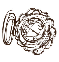 Fairy pocket watch black and white outline of a vector