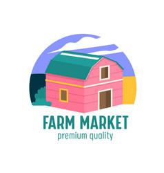 farm or farmer market banner with wooden barn on vector image