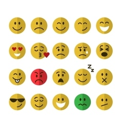 Flat emoticons set vector