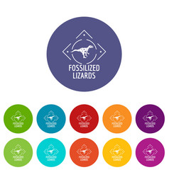 Fossilized lizard icons set color vector