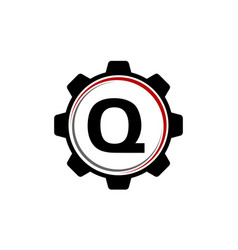 Gear solution logo letter q vector