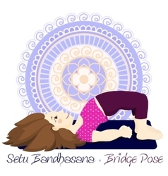 girl in Bridge Pose with mandala background vector image