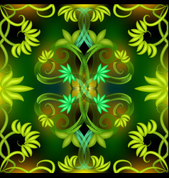green leaves abstract glowing seamless pattern vector image