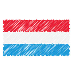 hand drawn national flag of luxembourg isolated on vector image