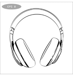 hand-drawn sketch of headphones vector image