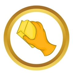 Hand in glove with rag icon vector image