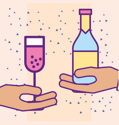 hands holding champagne bottle and glass cup vector image