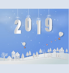happy new year 2019 on paper art background vector image