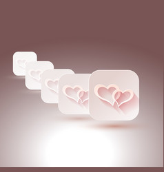 Hearts with shadows for designs of wedding vector