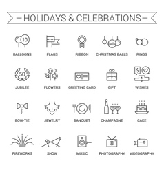 Holidays and celebrations Linear Black vector
