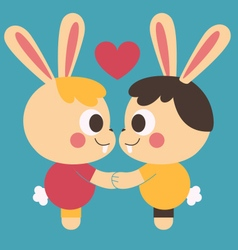 Homosexual Bunny Couple Holding Hands vector