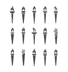 Icons torch with flame isolated set vector
