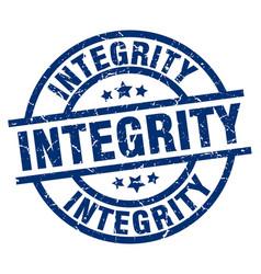 Integrity blue round grunge stamp vector