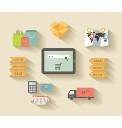 Internet shopping e-commerce concept Icons set vector