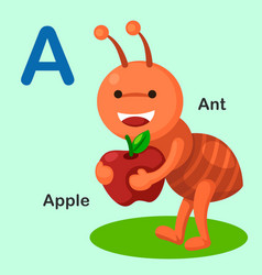 Isolated animal alphabet letter a-ant apple vector