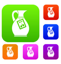 Jug with olive oil set collection vector