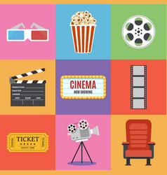 movie icons flat style vector image