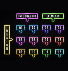 neon infographics elements on black background vector image