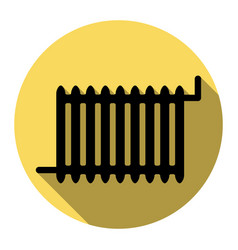 radiator sign flat black icon with flat vector image