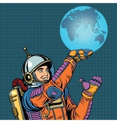 Retro astronaut is holding the planet earth vector