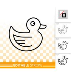 rubber duck simple black line icon vector image