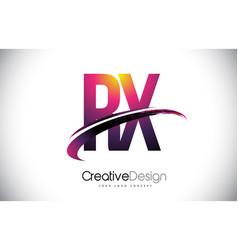 Rx r x purple letter logo with swoosh design vector