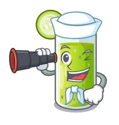 Sailor with binocular delicious cucumber juice on vector