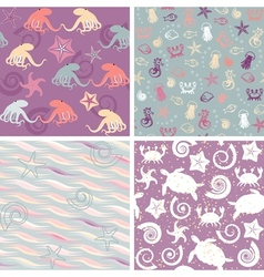 sea life patterns collection 5 vector image