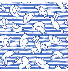 seamless pattern with abstract birds on striped vector image