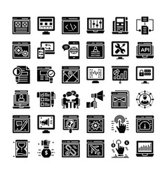 seo and web icons pack vector image