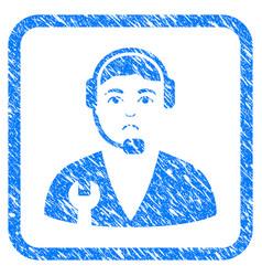 service operator framed stamp vector image