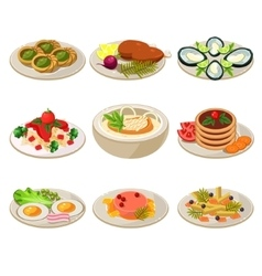 set food icons european lunch vector image