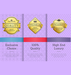 set golden labels on posters text sample exclusive vector image