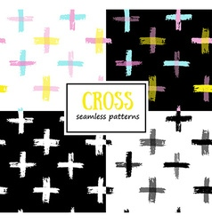 Set of seamless Cross Patterns vector