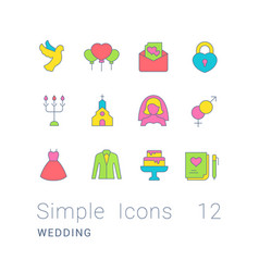 Set simple line icons wedding vector