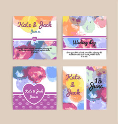 set wedding cards template with multicolored vector image