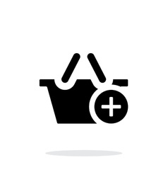 Shopping basket with plus simple icon on white vector