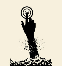 Silhouette hand finger click of particle vector