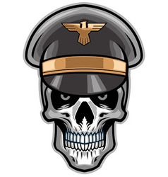 Skull soldier wearing hat vector