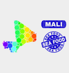 Spectral mosaic mali map and scratched sea food vector
