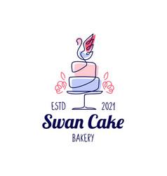 swan cake wedding bakery logo icon vector image