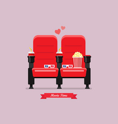 Two cinema seats with popcorn drinks and glasses vector