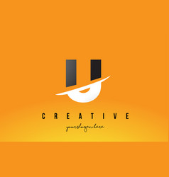 u letter modern logo design with yellow vector image