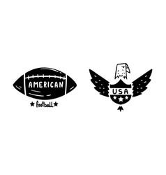 usa logo badges set american football and bald vector image