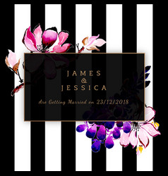 Watercolor floral wedding invitation with stripes vector
