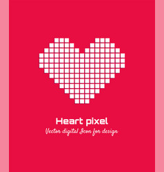 white pixel love heart icon logo design vector image