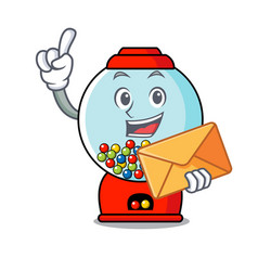 with envelope gumball machine character cartoon vector image